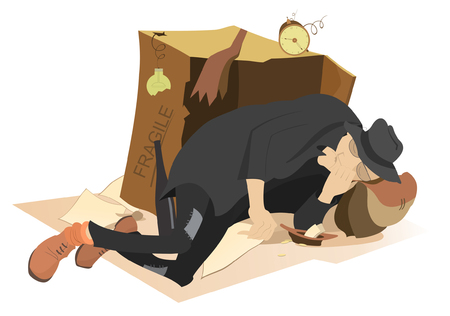mendicant: Sleeping beggar. Hungry and chilled man sleeps near a cardboard box and a plate with small change in
