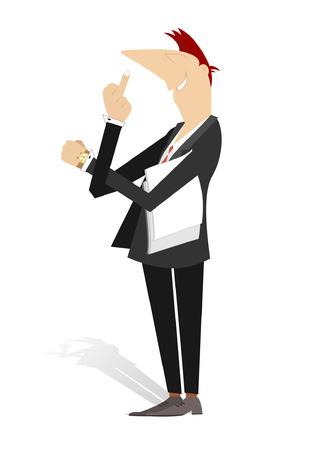 Indecent sign language. Cartoon man showing middle finger Illustration