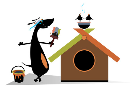 kennel: Dog paints a house. Cartoon dachshund is painting a kennel Illustration