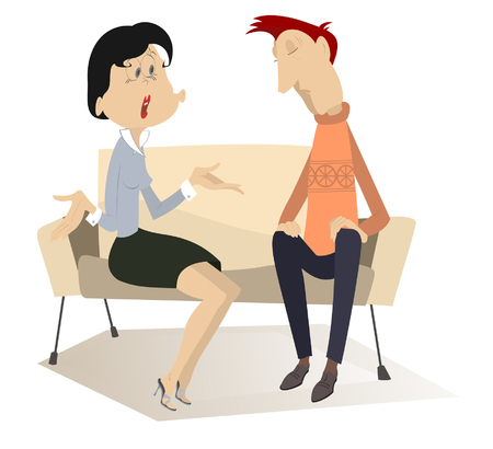 nervousness: Disappointment. Woman demands to do something from the man in low spirits on the sofa