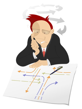 settle: Thinking man.  Busy man looks the paper with many pointers and thinks how to settle the problem or creates new ideas