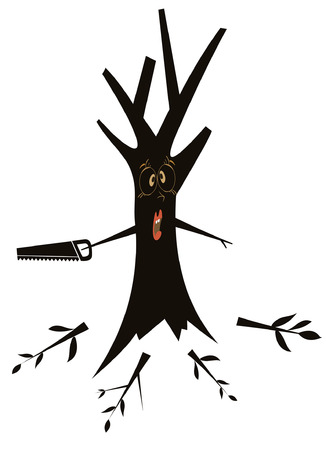 Tree cuts all branches using hacksaw conceptual illustration
