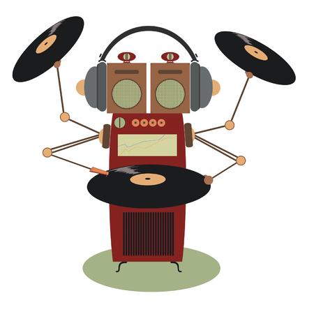Funny jukebox. Jukebox cartoon illustration