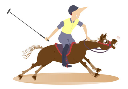 Polo sport. Man on horse playing polo Illustration