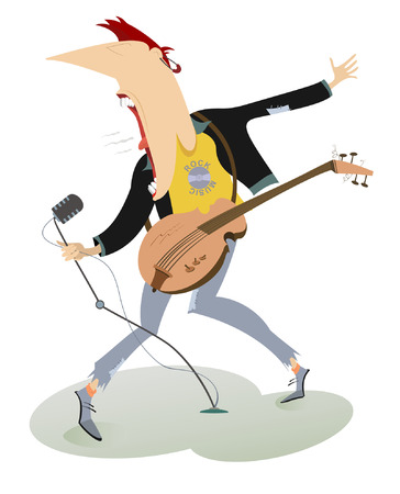 rockabilly: Let be where rock.  Guitarist is playing music and singing with the great inspiration