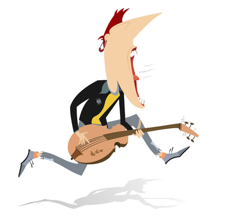rockabilly: Jumping guitar player. Guitarist is playing music and singing with the great inspiration