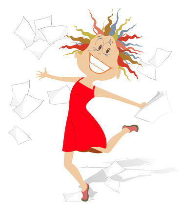 toss: Happy woman. Lucky woman toss up papers