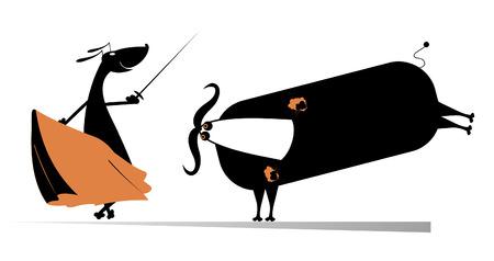 bullfighter: Dog bullfighter aims to the bull by sword