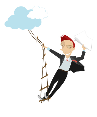 rope ladder: Stairway to success. Man with papers in his hand swarms up on the rope ladder to the clouds