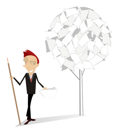 politicians: Man and document tree. Smiling man with a big pencil stands near a tree of documents