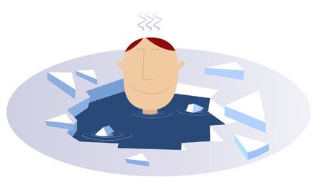 winter fun: Winter swimming. Man swims in the ice hole Illustration