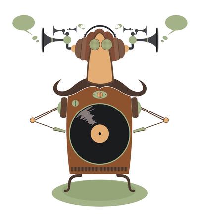 acoustics: Funny jukebox. Vintage jukebox cartoon illustration Illustration