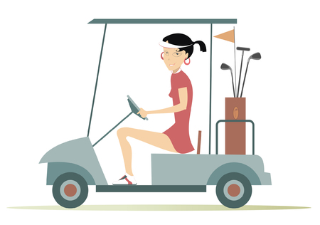 woman golf: Woman in the golf cart. Pretty young woman is going to play golf in the golf cart