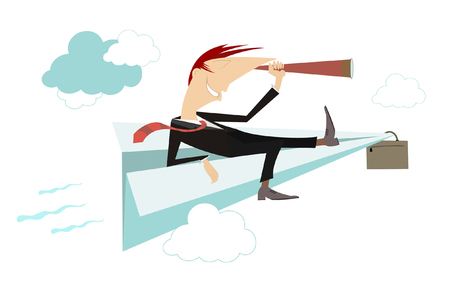 Businessman on paper airplane is looking into the binoculars and exploring new ways of the business