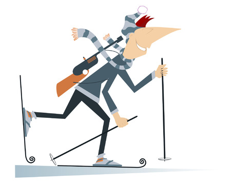 competitor: Biathlon competitor.  Cartoon biathlon competitor illustration Illustration