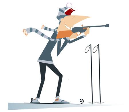 competitor: Biathlon competitor.  Shooting biathlon competitor cartoon illustration Illustration