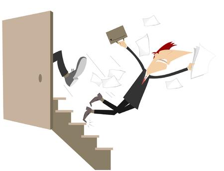 Affari punire concetto illustrazione. Un uomo viene dato un calcio al culo e cade giù per le scale Vettoriali