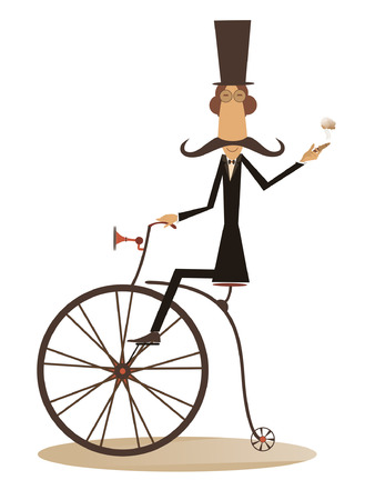 stovepipe hat: Gentleman with mustache, top hat and umbrella rides a retro bike and smoking a cigar