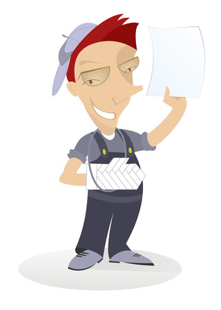 sick leave: Work injury. Smiling worker with bandage on the broken arm shows a paper Illustration