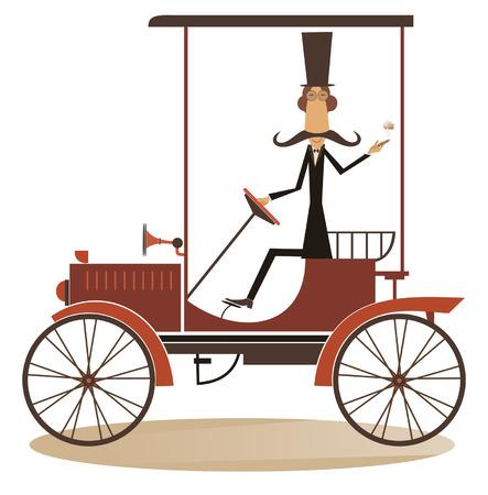 cigar smoking man: Retro car. Smiling man drives a retro car and smoking a cigar Illustration