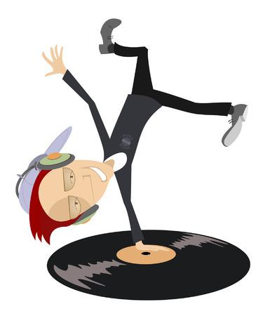 Cartoon funny DJ with headphones on the head stands head over heels on vinyl record Illustration
