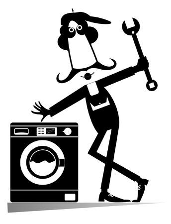 repaired: Mechanic Illustration. Comic mechanic has repaired a washing machine Illustration
