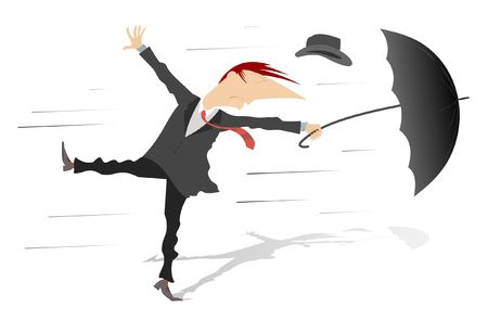 Windy weather. Man, his hat and umbrella are gone by the wind Illustration