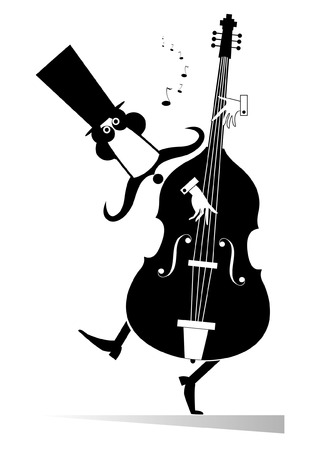 double bass: Double bass musician. Funny mustached man in the top hat performing music on double bass