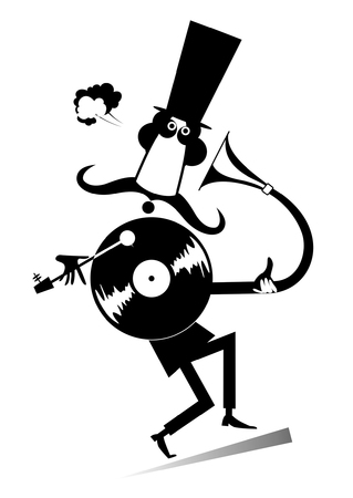 mustached: Mustached man and vintage record player. Funny mustached man in the top hat is listening music on the vintage record player