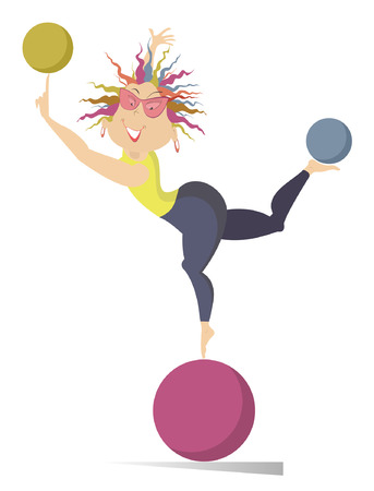 calisthenics: Woman do exercises with the balls. Funny young woman standing on the ball holds others on the finger and on the leg Illustration