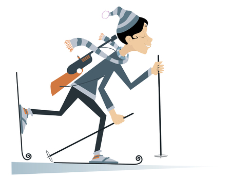 competitor: Funny cartoon biathlon competitor woman rushing to victory