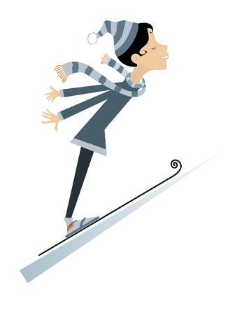 Cartoon woman a ski jumping illustration