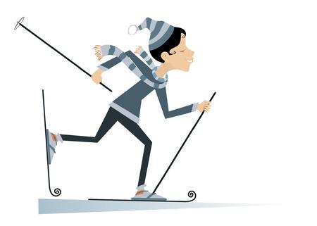 Cartoon skier woman illustration Illustration