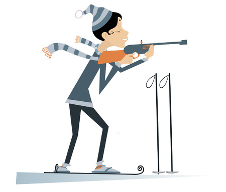 competitor: Shooting biathlon competitor woman cartoon illustration