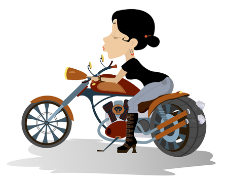 Biker babe. Sexy young woman sitting on the motor bike Illustration