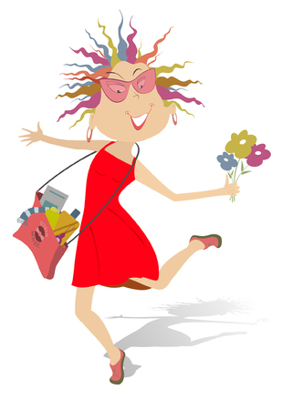 Happy woman. Funny running young woman with a bag full of different things and the bunch of flowers