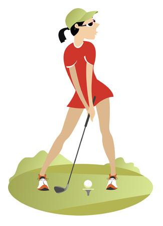 Woman playing golf. Woman golfer trying to make a good shot