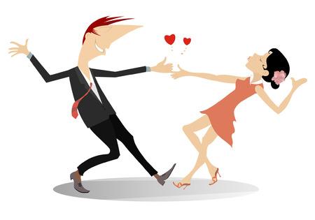 Love dance Romantic dancing man and woman Illustration