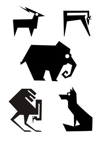 Decor animal silhouette illustration collection for design Illustration