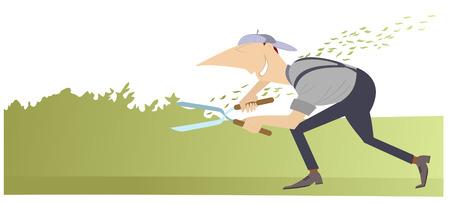 Gardener cartoon illustration. Comic man cuts the bushes using scissors