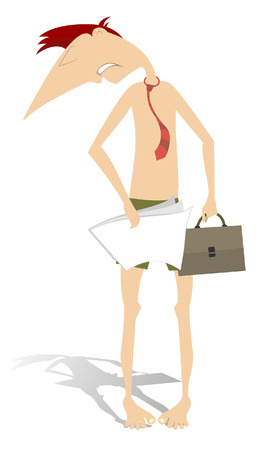 Semi naked businessman isolated. Man only in shorts and tie hides his nakedness by documents and bag