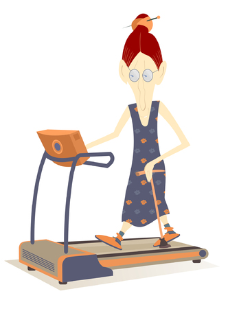 Old woman wants to be healthy and pretty.  Smiling old woman with walking stick trains on stepper