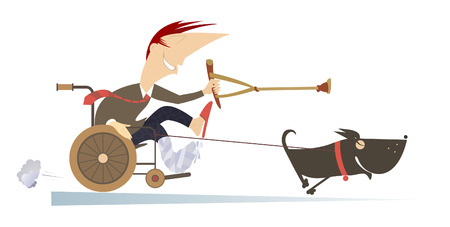 Comic man with bandage on the broken leg sitting in the wheelchair and points a dog, hauling him by rope, there to go using a crutch