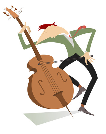 Cellist isolated.  Serious cellist is playing music with great inspiration Illustration