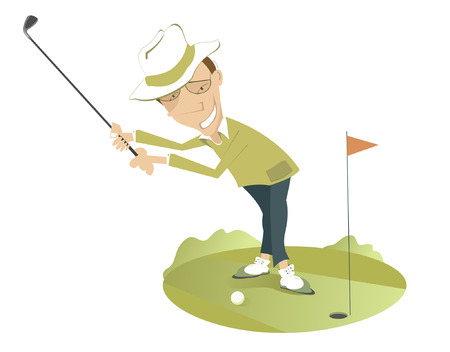 Smiling golfer on the golf course. Smiling golfer in the hat is trying to send the ball to the hole Illustration