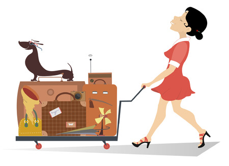 Smiling woman with a luggage isolated.  Smiling woman pushing a trolley with the luggage