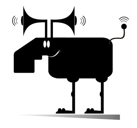 Cartoon elk or deer concept illustration. Cartoon elk or deer with megaphones instead of horns and antenna instead of tail