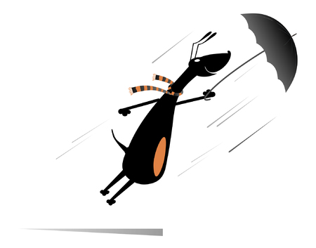 Windy day. Dog holding an umbrella gone with the wind isolated Illustration