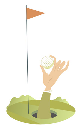 On the golf course. Hand of the man with a golf ball appears out from the golf hole Illustration
