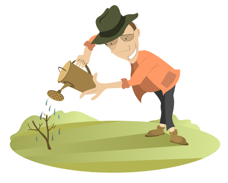 Smiling man is watering a little tree using watering pot Illustration